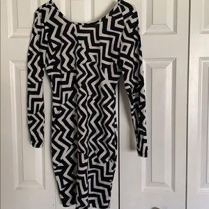 Black and white zebra body con dress